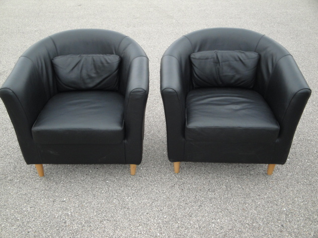 details about pair matching black leather lounge chairs ikea tullsta