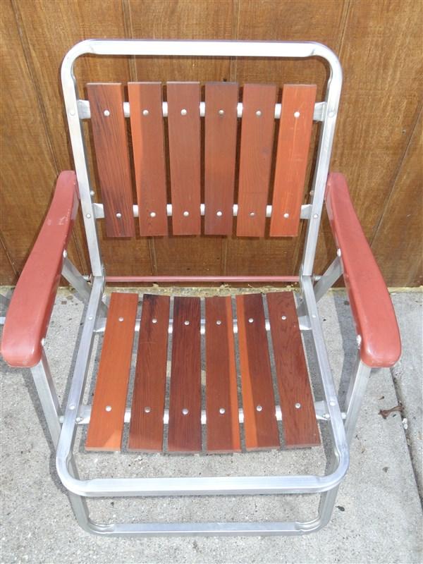 2 vintage aluminum redwood folding lawn chairs ebay for Aluminum folding lawn chairs