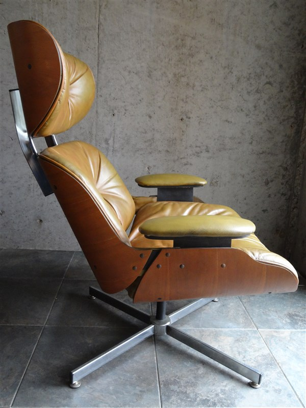 Mid century selig plycraft eames era leather walnut lounge chair ebay - Selig eames chair ...